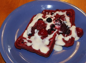 Shannon modified our GF Waffle Mix following Racheal Ray's Recipe: Red Velvet Waffles Cream Cheese Drizzle