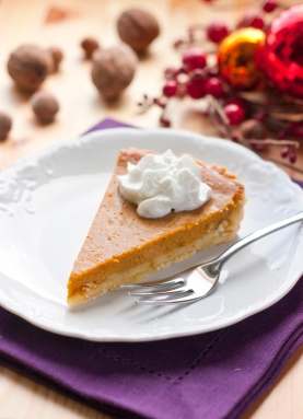 pumpkin pie slice with df whipped cream