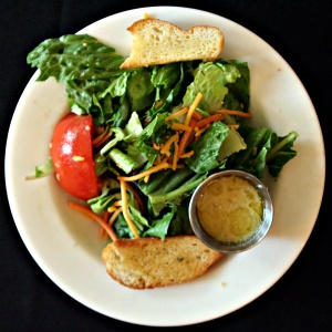 Fresh salad with GF Melba Toast and Honey Mustard Dressing