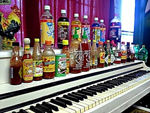 A piano with hot sauce. Why not?